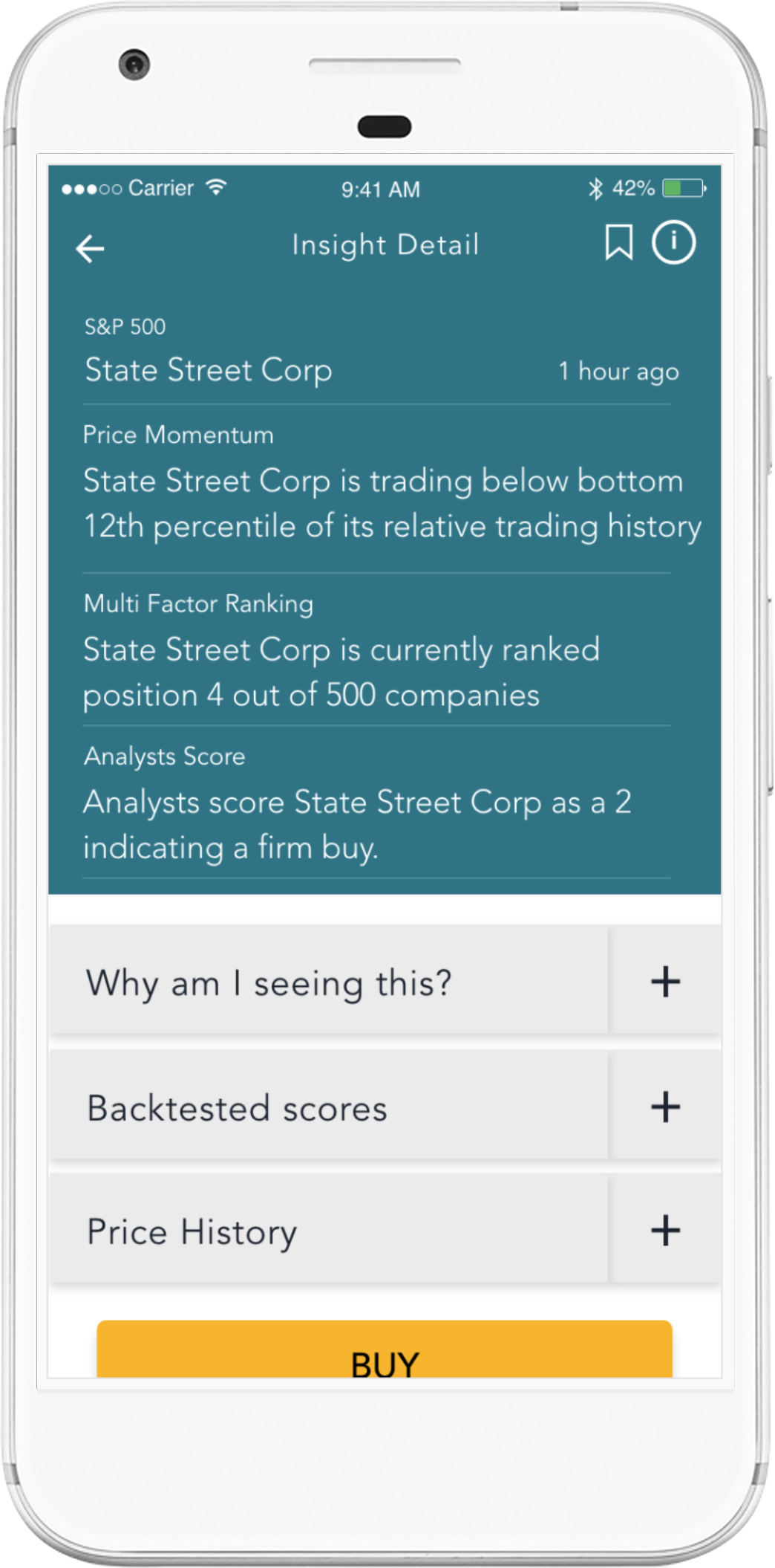 Deep Learning Financial Insights Dashboard on iPhone